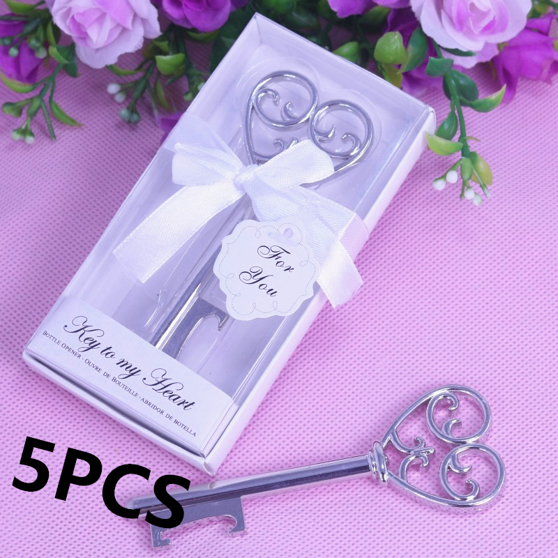 5PCS Bulk Home Party Favor My Heart Key Bottle Opener Boxed For Baby Shower Christening Wedding Favours And Gifts For Guest(China (Mainland))