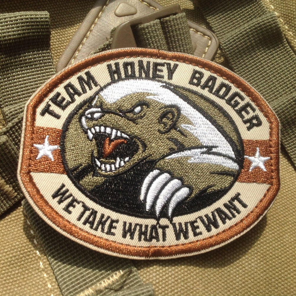 BZ0142# TEAM HONEY BADGER WE TAKE WHAT WE WANT USA MILITARY US ARMY MORALE STICK-ON PATCH(China (Mainland))