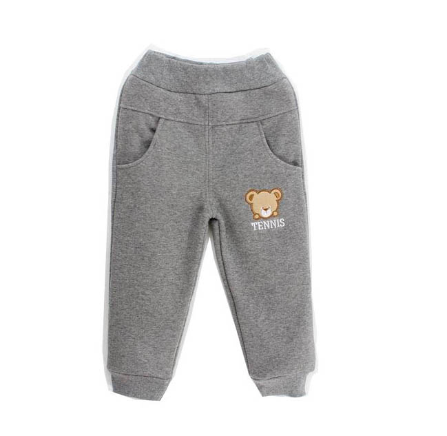 2016 winter warm cotton child velvet pants for boys and bear embroidered thicken coral fleece pants Age 3T-6T(China (Mainland))