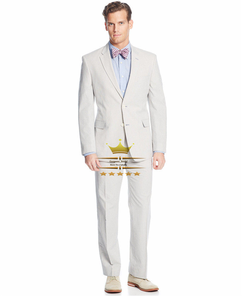 Custom made wedding suit for men with pants ivory mens for Mens ivory dress shirt wedding