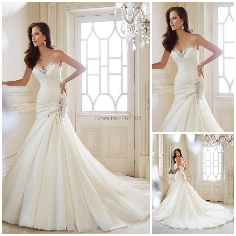 Wedding dress with beaded elegant back lace up mermaid bridal dress