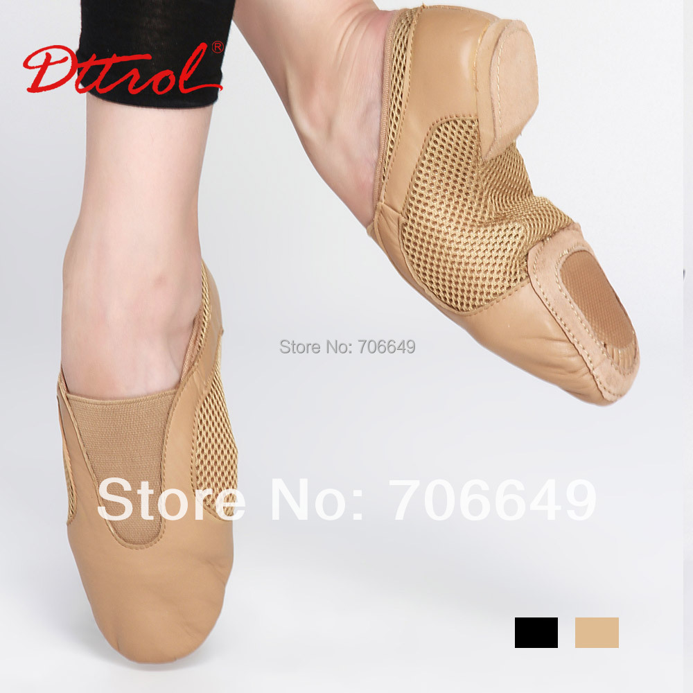 New arrival dttrol adult cow leather stretch jazz dancing shoes jazz sneaker with reinforced outsole (D004927)(China (Mainland))