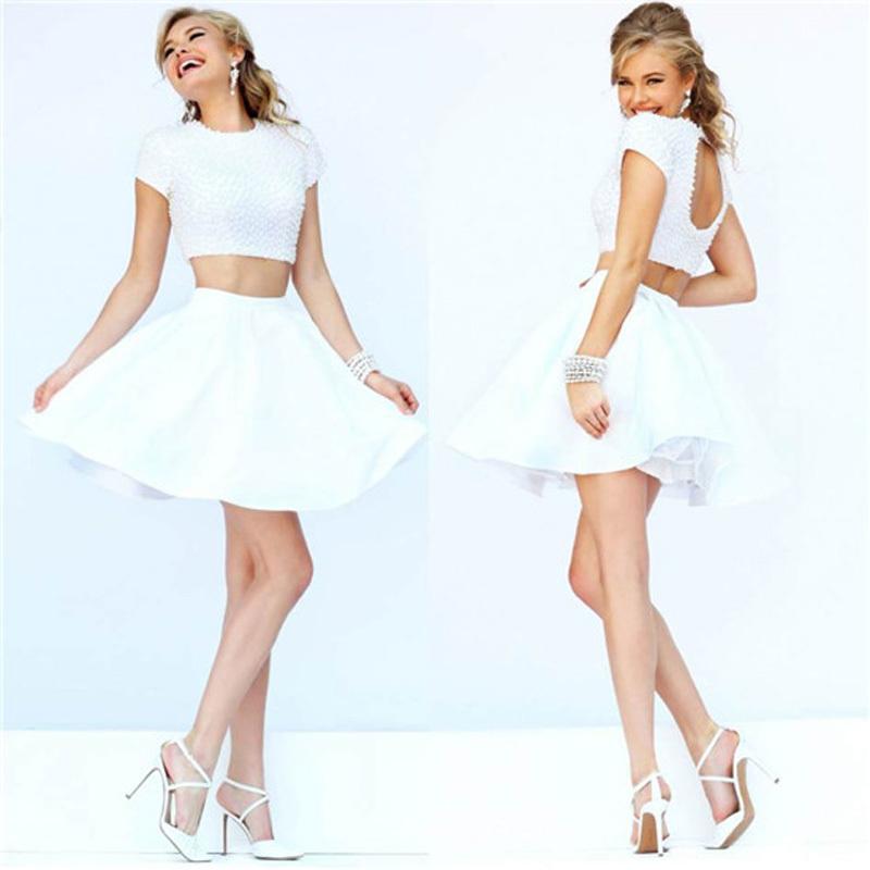 Pearl White Prom Dresses Short Prom Dress White