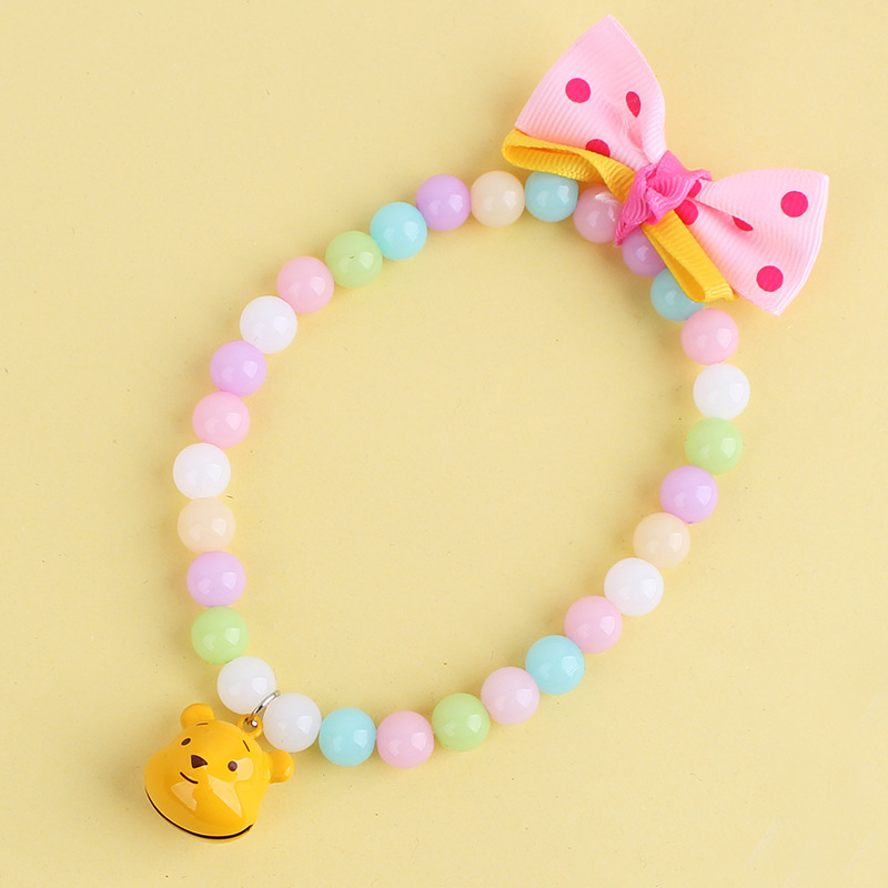 New Pet Products Yellow Blue Pink Color Mixing Dogs Cats Pearls Collar With Carton Bell And Cute Bows Necklace Free Shipping(China (Mainland))