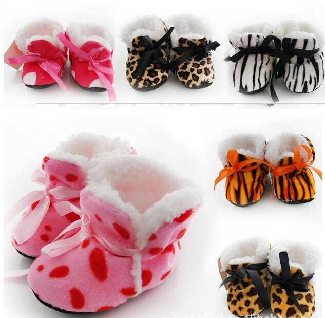 Autumn and winter thicker section booties / toddler shoes / baby shoes / home shoes small leopard print exposure(China (Mainland))