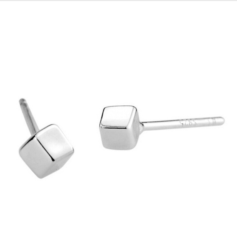 square 925 silver stud earring square stud earring wholesale square earring 2015 new earring supplier free shipping(China (Mainland))