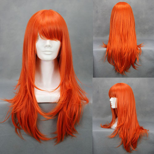 New Fashion 65cm Medium Wavy Orange Wigs One Piece Nami Cosplay Wig Costume Party Wigs For Women Synthetic Hair Wig(China (Mainland))