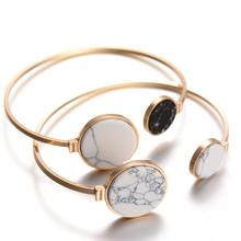 Gold Tone 2016 New Fashion Trendy Round Black White Turquoise Marbleized Stone Charm Cuff Bangle Bracelet for Women(China (Mainland))