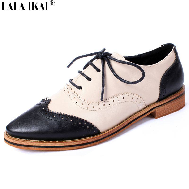 Oxford Shoes for Women 2016 Retro Leather Brogues Pointed Toe Lace Up Front Med Heel Woman Shoes British Style Flats XWR0024-5<br><br>Aliexpress