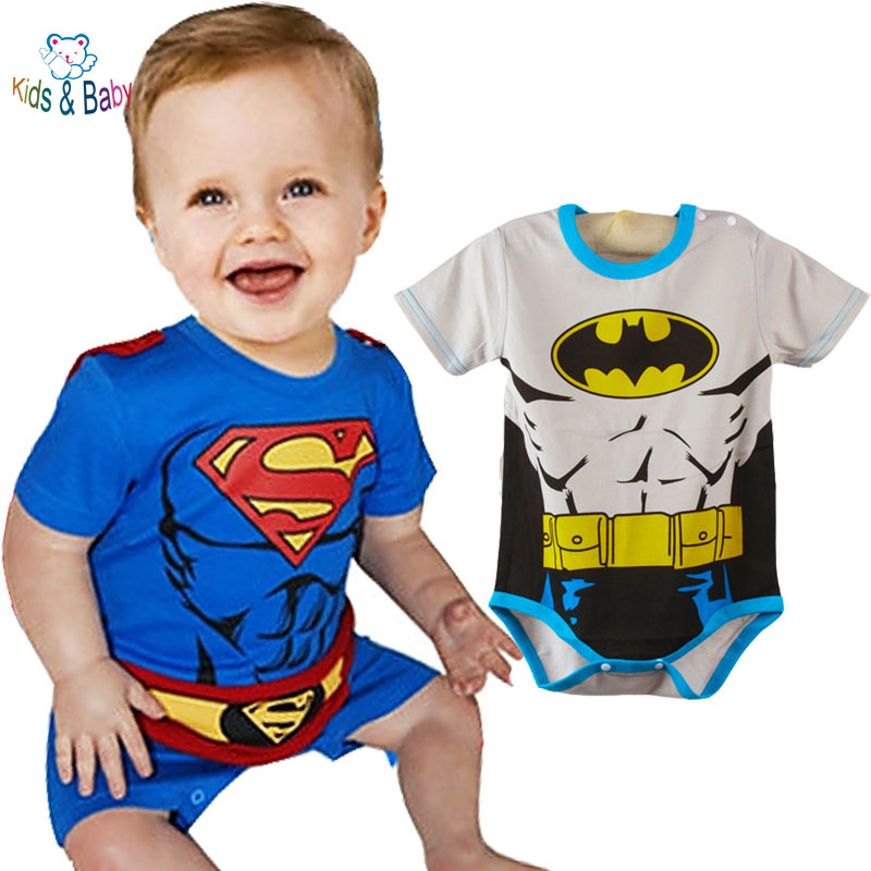 2016 Baby Costumes Ropa Bebe Cotton Short Sleeve Superman Baby Rompers Batman Newborn Baby Boy Clothes Birthday Baby Clothes