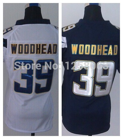 Christmas Clearance Sale/ 39 Danny Woodhead White/Blue Authentic Women Football Jerseys Size:S-XXL Mix order(China (Mainland))