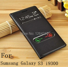 view Window Flip Leather Back Cover Cases Battery Housing Case For Samsung Galaxy S 3 SIII S3 I9300