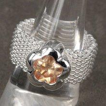 925 серебряных ювелирных изделий, Желтый цветок серебряное кольцо обручальное кольцо обручальное обручение кольца R080(China (Mainland))