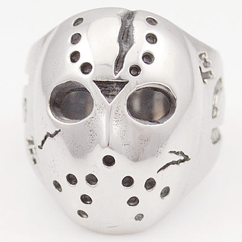 Black Friday Hockey Jason Mask SKull Rings Novel Mens 316L Stainless Steel Jewelry, ROCK, Biker, Wholesale, free shipping  VR063
