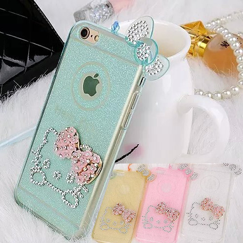 for Apple iPhone 6 Plus 5.5'' New Cell Phone Case 3D Hello Kitty Diamond Bling Rhinestone Back Cover Cute(China (Mainland))