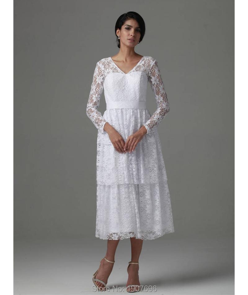 Vintage Long Sleeve White Lace Tea Length Beach Wedding Dresses 2016 Spring V