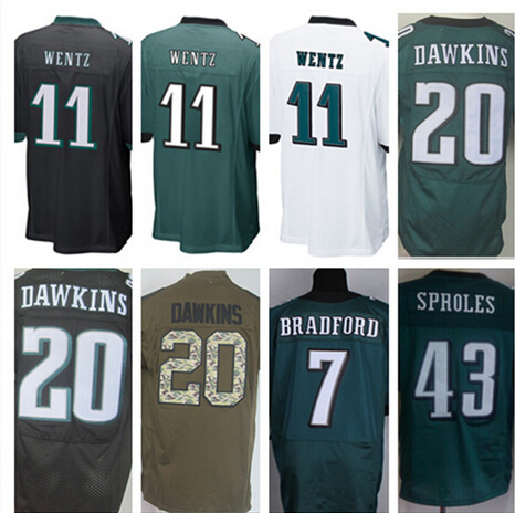 NEW arrival 11 Carson Wentz 43 Darren Sproles 7 Sam Bradford 20 Brian Dawkins black white green stitched elite jersey(China (Mainland))
