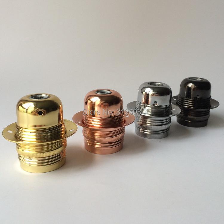 E27 metal lampholder e27 thread lamp socket in gold chrome copper black color(China (Mainland))