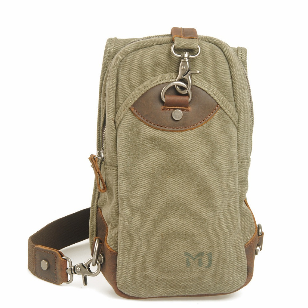 Brand New Muchuan England Style Men's Leather Canvas Patchwork Casual Bag Solid Color Sport Single Messenger Bags Free Shipping()
