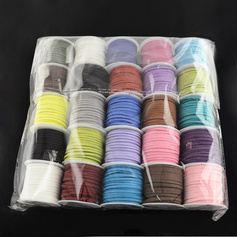 Wholesale 25rolls/bag 3x1.5mm Mixed Color Faux Suede Cord Leather Lace For Clothes Shoes Jewelry Making Findings about 5m/roll