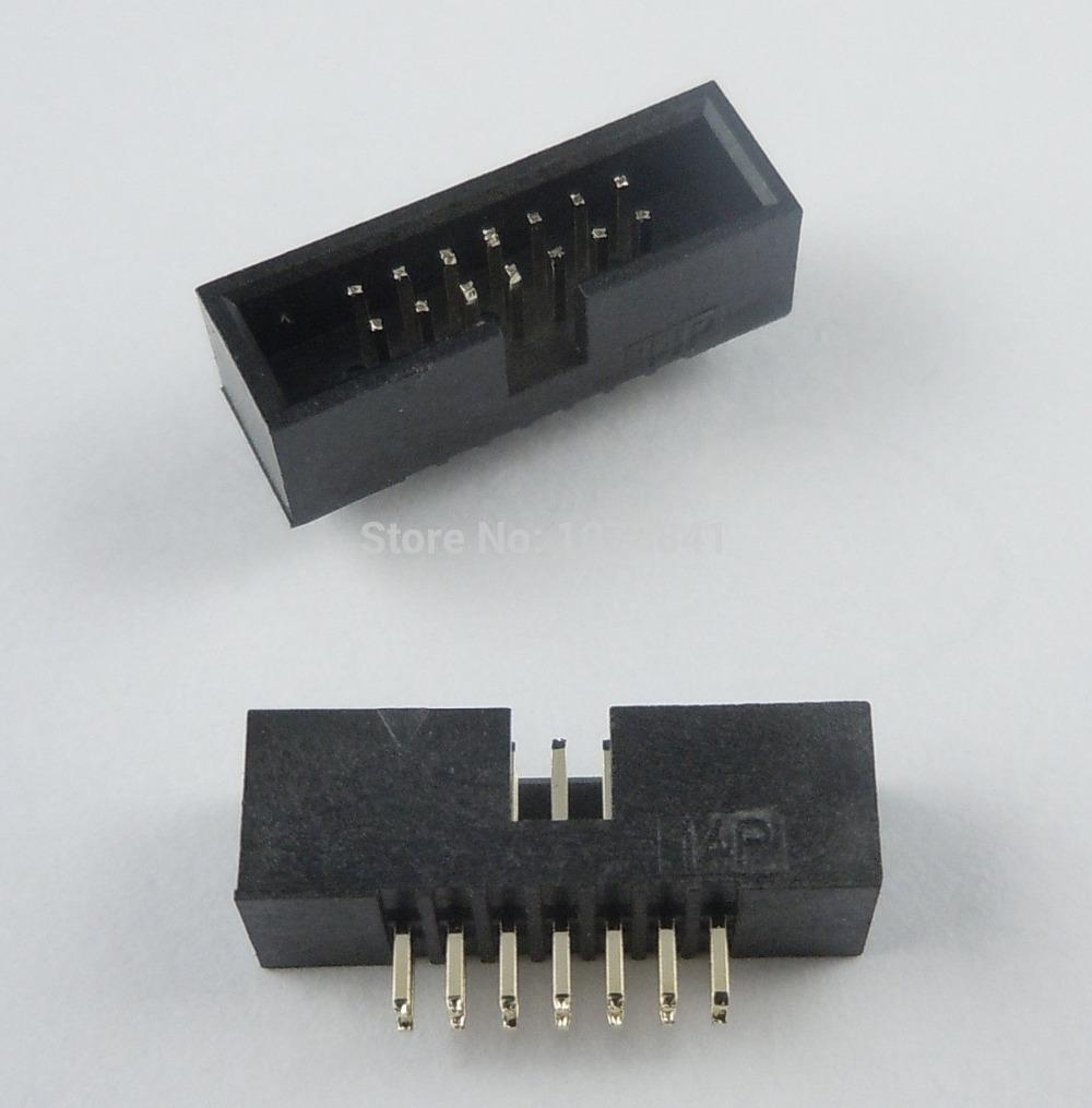 50 Pcs Per Lot 1.27mm 2x7 Pin 14 Pin DIP Male Shrouded PCB Box Header IDC Connector от Aliexpress INT
