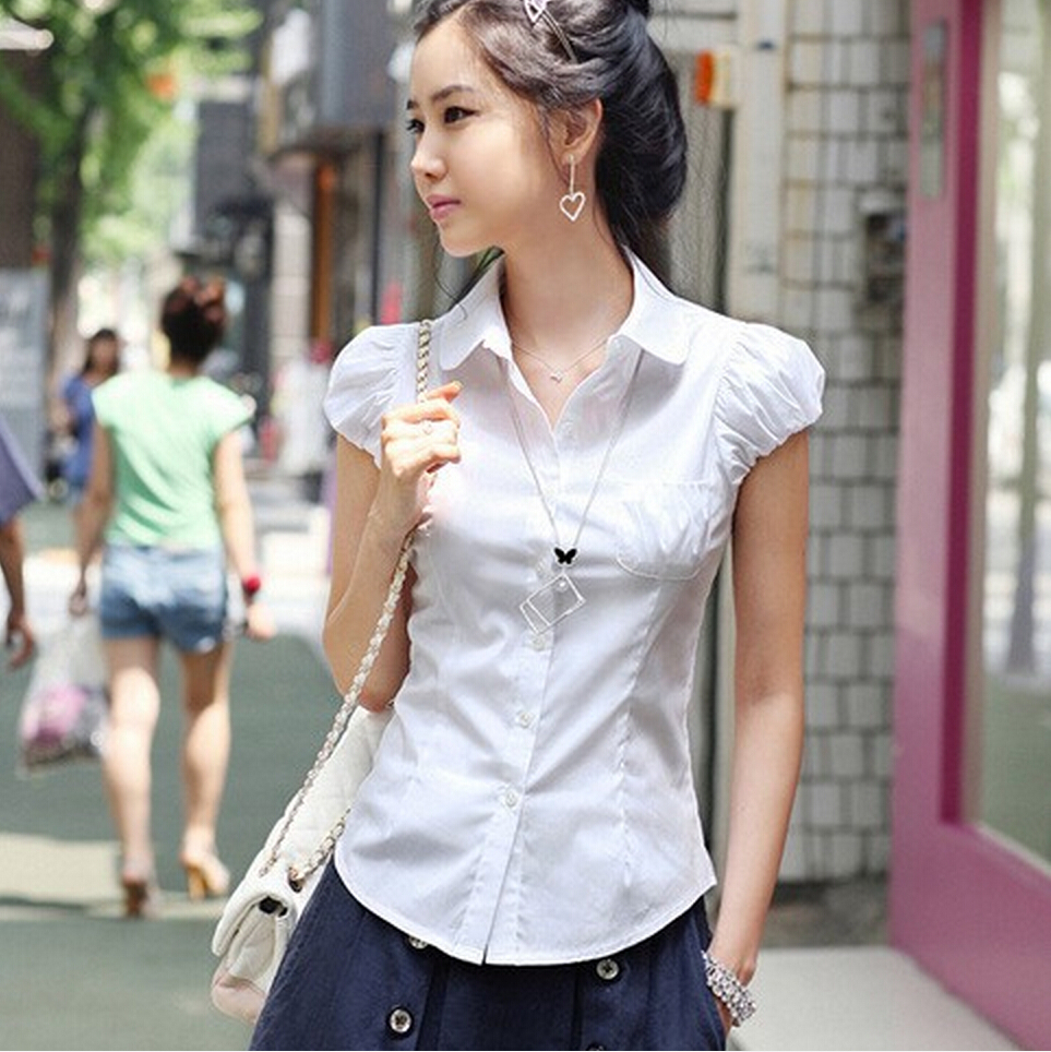 White Short Sleeve Cotton Blouse 113