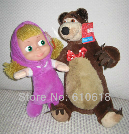 2013 Free Shipping Style-C 2Pcs/Pair New Arrival Russian Musical Masha and Bear Musical Dolls Baby Children Best Gift