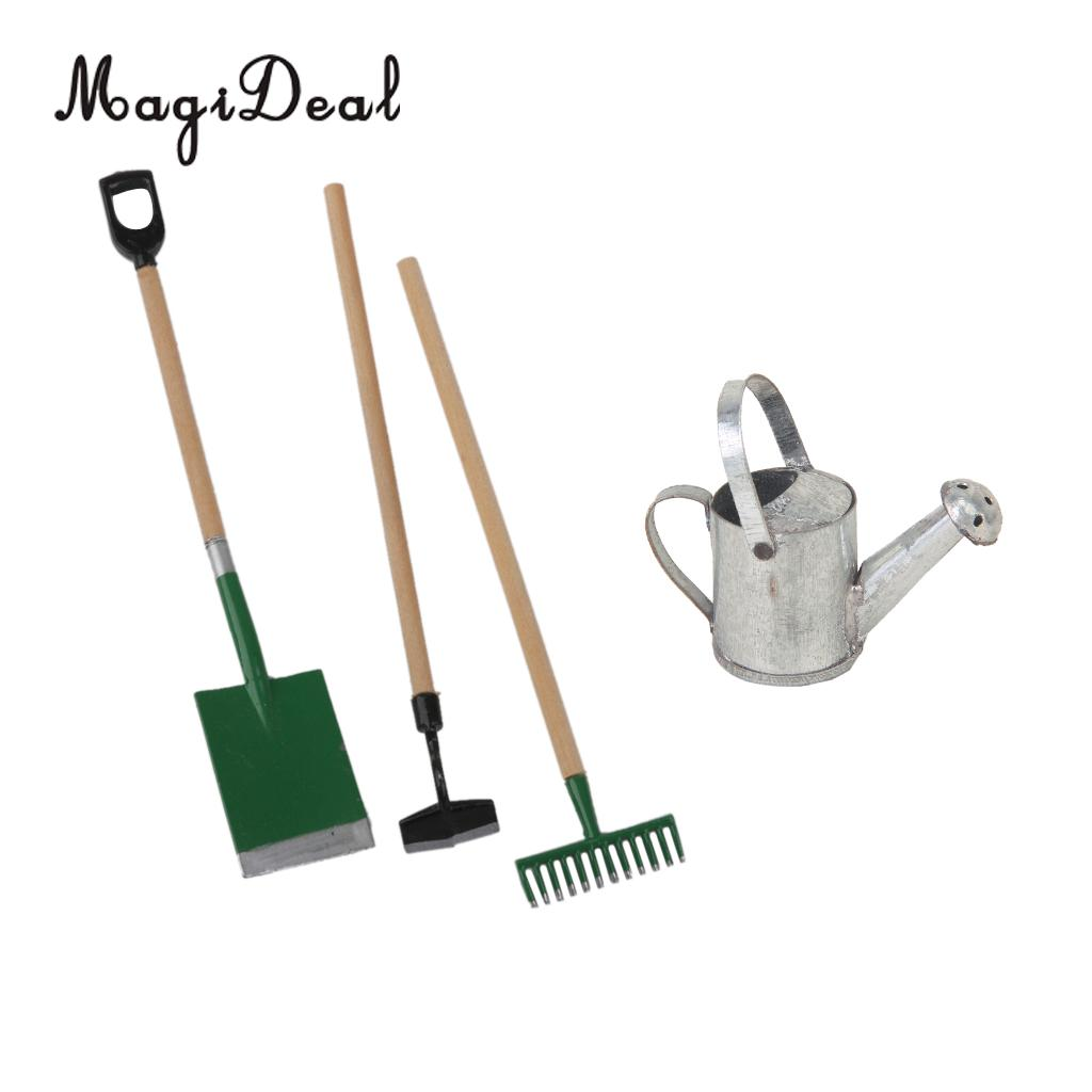 3 Pieces Garden Tools+Tin Metal Watering Can for 1/12 Dollhouse Miniature Acc Garden Scenery Model Children Kids Toys