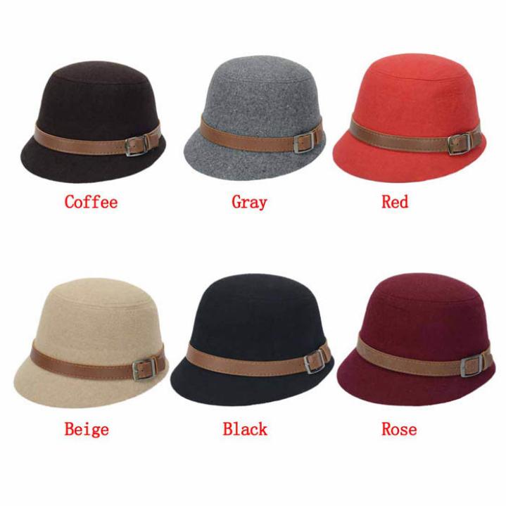 Гаджет  Amazing Fashion Solid Color Women Beach Belt Buckle Felt Bowler Fedora Hat Bowler Caps None Одежда и аксессуары