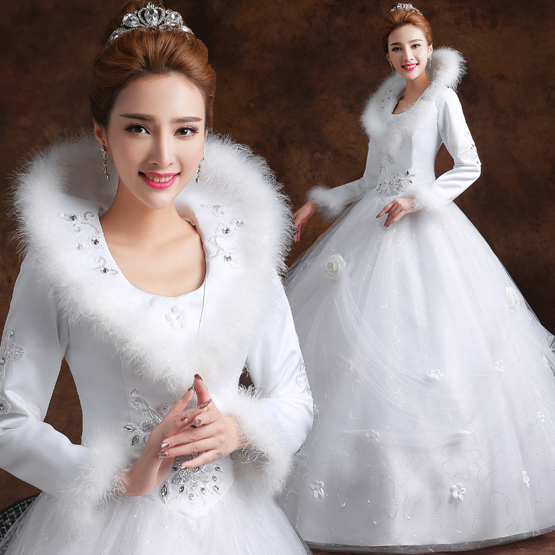 Long sleeves white winter wedding dress with faux fur for Wedding dresses without sleeves