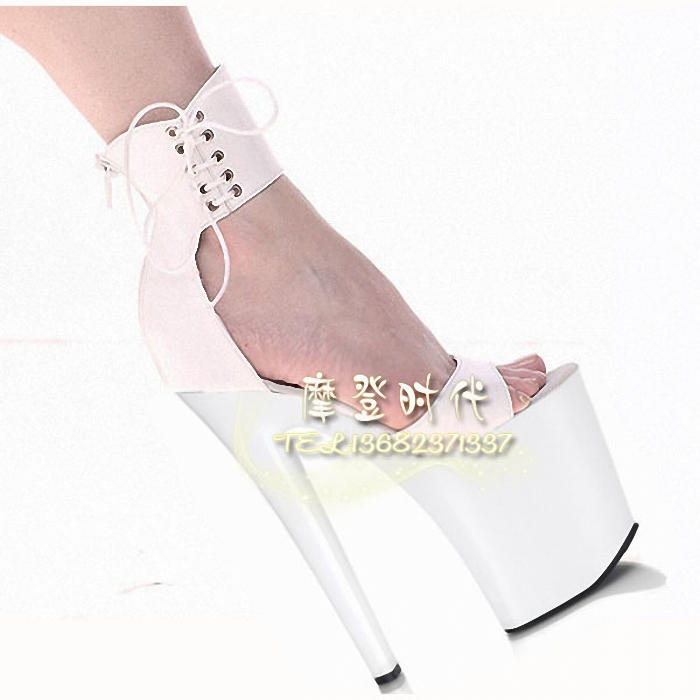 Free Shipping ankle strap with 8 inch lacing bridal shoes wedding shoes white all-match queen of shoes 20cm high-heeled sandals(China (Mainland))