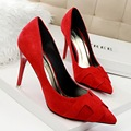 New Fashion Concise women High heeled shoe Pure Color Suede leather Pointed toe Sexy Thin heel