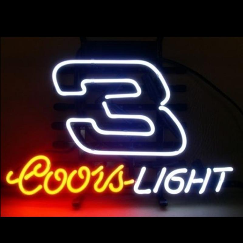 "17\""x14\"" COORS LIGHT 3 NASCAR REAL GLASS NEON SIGN DISPLAY"