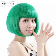 Neitsi Halloween Fashion Synthetic Hair Straight Short Wigs Cheap Full Lace Bob Wig Style Multi Color 10Colors For Cosplay/Party(China (Mainland))