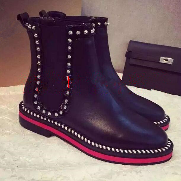 Brand new punk style woman ankle boots red bottom black leather rivets booties round toe flat studded boots girls punk boots(China (Mainland))