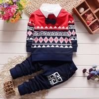 2016 Spring autumn Casual baby boys tie National style grid Contrast color t-shirt +pant  two piece suit  clothing sets Y2008