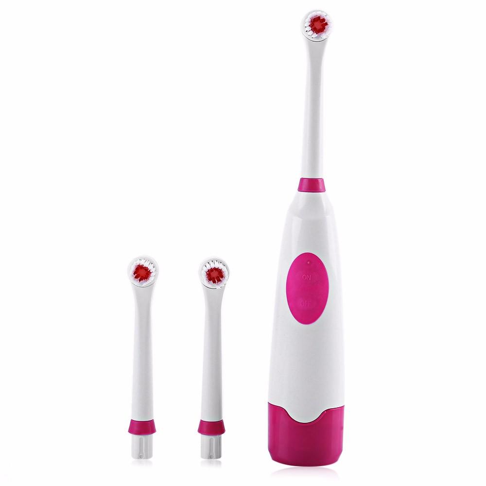 1 conjunto 3 PCS Pro escova de dentes elétrica Oral higiene girando Anti Slip elétrica escova de dentes com 2 cerdas macias cabeças de escova