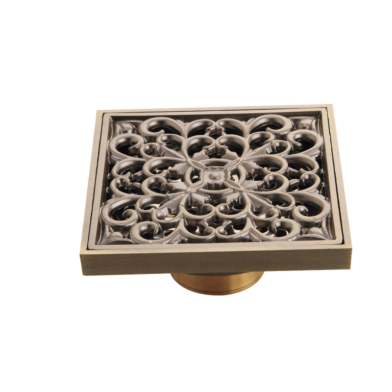 ,Retail,,Usherlife,flower carved antique floor drain square drainer bathroom accessories HJ-6125A Wenzhou