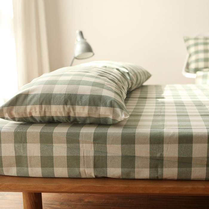 100% Cotton Green Beige Plaid Yarn Dyed Japan Muji Style Sheet Sets Bedding Set High Quality Reactive Printing Home Textile(China (Mainland))