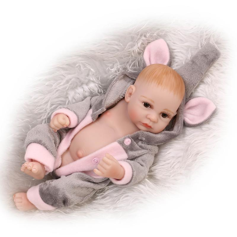 27cm Cuddly Premature Baby Reborn Baby Doll Full Soft Silicone Lifelike Newborn Baby Washable Bath Lifelike Toys For Bouquets(China (Mainland))
