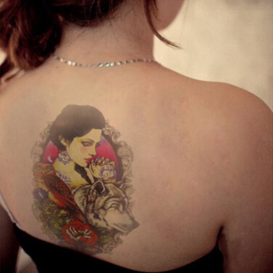 1 Pcs Men Women Beauty Wolf Print Temporary Tatto Waterproof Tattoo Arm Sticker Fake Arm Sleeve Body Tattoo Shoulder Tattoos(China (Mainland))