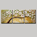 3 piece wall art flower pictures white decorative hand painted knife painting Modern abstract life tree