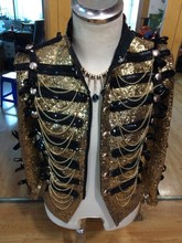 Buy Fashion Men Gold Sequins Slim Casual Jacket Male DJ Singer Stage Performance Prom Punk Ds Costumes England Style Outerwear for $133.00 in AliExpress store