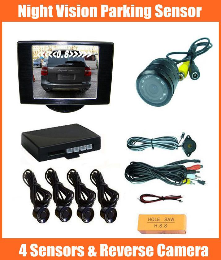 Wholesale video parking sensor 4 sensors parktronic (3.5inch car monitor+rear view camera+4 parking sensor) parking assistance(China (Mainland))