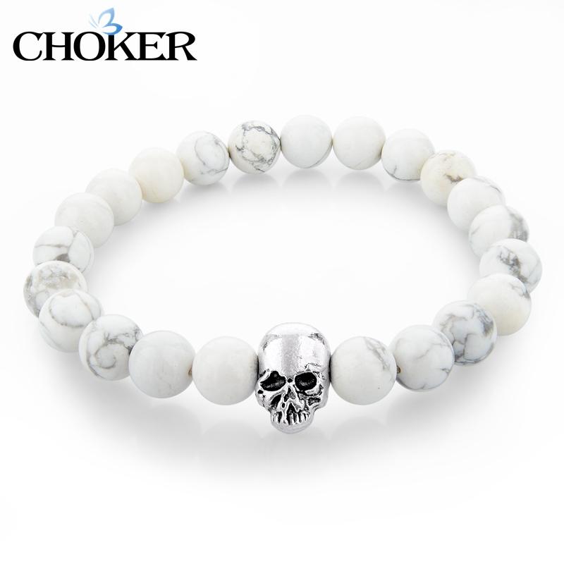 Handmade White Natural Stone Charm Bracelets For Women Men Silver Skull Bracelet Femme Turkish Jewelry Pulseras Mujer SBR150265(China (Mainland))