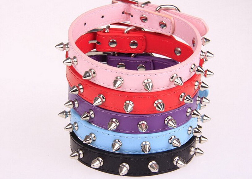 HOT SAL E Pet Collar Personalized Spiked Studded Soft Suede Leather Cat Puppy Dog Collars Pet Products(China (Mainland))