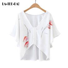 Buy La-Tee-Da!Summer 2017 Print Flowers V-Neck Chiffon Blouses Shirts Women Lady New Fashion Casual Short OL Office Elegant Lady for $13.25 in AliExpress store