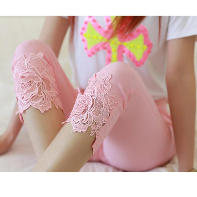 Hot Sale! 2015 Summer New Women Fashion Lace Crochet Thin Casual Capris Plus Size Ladies Stretch Crops Pencil Pants S-XXXL(China (Mainland))