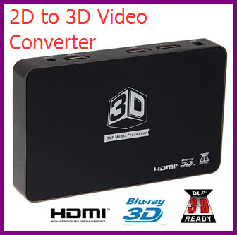 Full HD 1080P 2D to 3D Video Converter Box Support 3D DLP Projector Media Processor Support HDMI 1 Out and 2 In For TV and Games(China (Mainland))