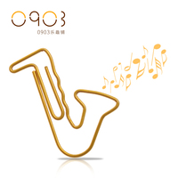 Free shipping Multicolour paper needle office supplies paper clip pin brooch Small seamline music gold Saxophone paper clips